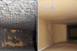 Before and after picture of ductwork