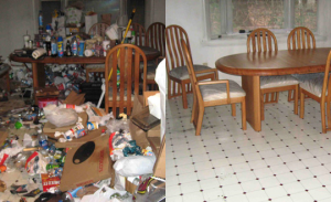 Before picture of a very cluttered room and an after cleaning picture of the same