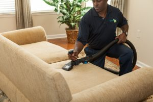 technician cleaning an upholstered sofa with a portable extraction equipment